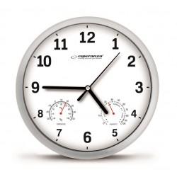 Ceas de perete cu termometru si higrometru, diametru 25 cm, Alb Lyon Esperanza (EHC016W)